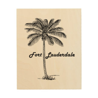 Black and White Fort Lauderdale & Palm design Wood Print