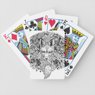 Black and white fox in the forest bicycle playing cards