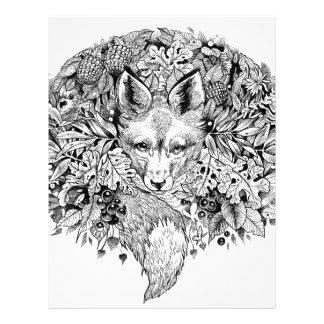 Black and white fox in the forest letterhead