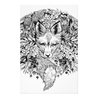 Black and white fox in the forest stationery