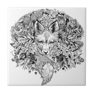 Black and white fox in the forest tile