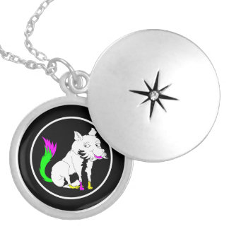 Black and White Fox With a Shocking Pink Tail Round Locket Necklace