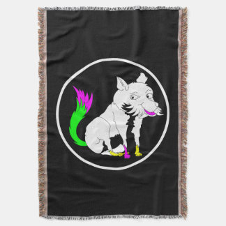 Black and White Fox With a Shocking Pink Tail Throw