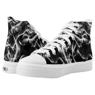Black And White Fractal Abstract Art Shoes