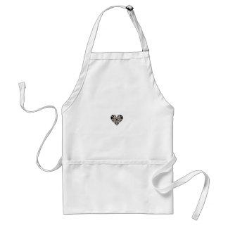 Black and White Fractal Art Heart Shape Standard Apron