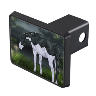 Black and White Frame Overo Paint Horse Trailer Hitch Cover