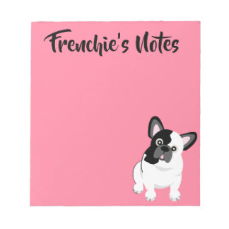 Black and White French Bulldog Cute Puppy Notepad