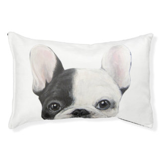 Black and white French Bulldog dog bed