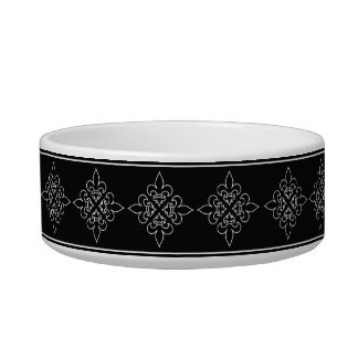 Black and White French Fleur De Lis Design Cat Water Bowl