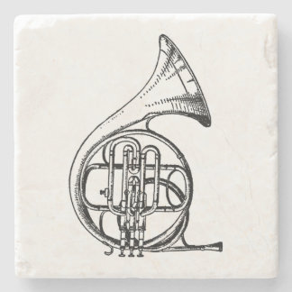 Black and White French Horn Musical Instrument Stone Coaster