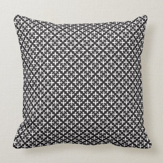 Black and White French Inspired Fleur De Lis Throw Pillow
