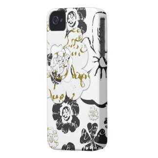 Black and white French Script Floral iPhone 4 case