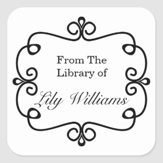 Black And White From The Library Of Bookplate Square Sticker