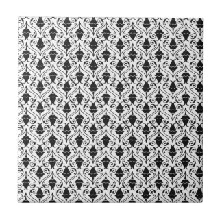 Black and White Fuchsia Floral Damask Tile