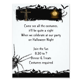 Black and White Full Moon Halloween Invitation