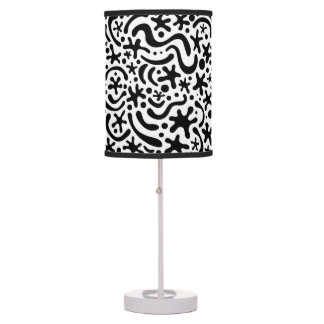 Black and White Funky Blob and Squiggle Pattern Table Lamps