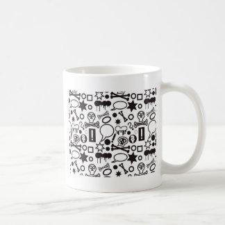 Black and white funky icons coffee mug