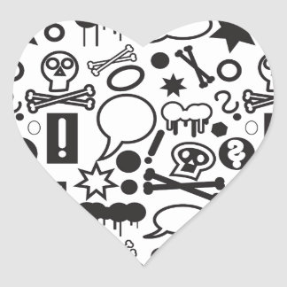 Black and white funky icons heart sticker