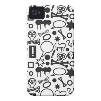 Black and white funky icons iPhone 4 covers