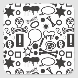 Black and white funky icons square sticker