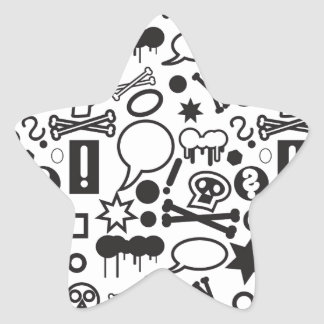 Black and white funky icons star sticker