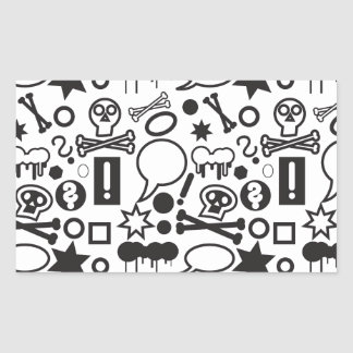 Black and white funky icons sticker