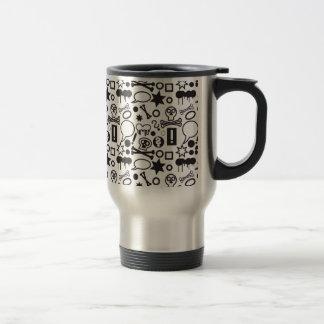 Black and white funky icons travel mug