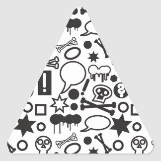 Black and white funky icons triangle sticker