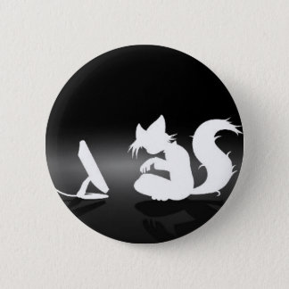 Black and White Furry 2 Inch Round Button