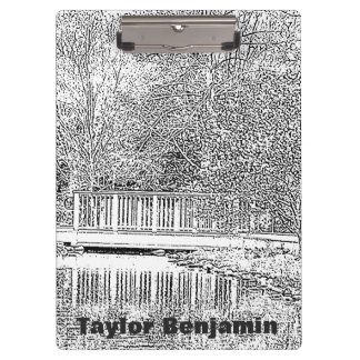 Black and White Garden with Beautiful Pond Clipboard