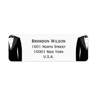 Black And White Gay Wedding Return Address Labels