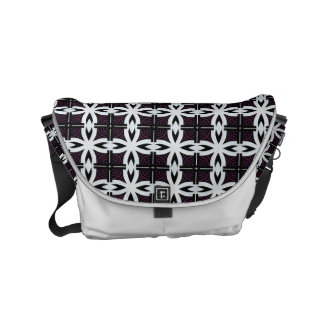 black and white geometric abstract design courier bag