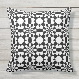 black and white geometric abstract design outdoor pillow