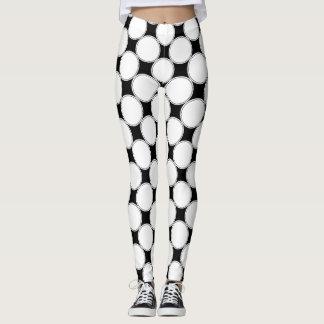 Black and White | Geometric Dots Pattern Leggings