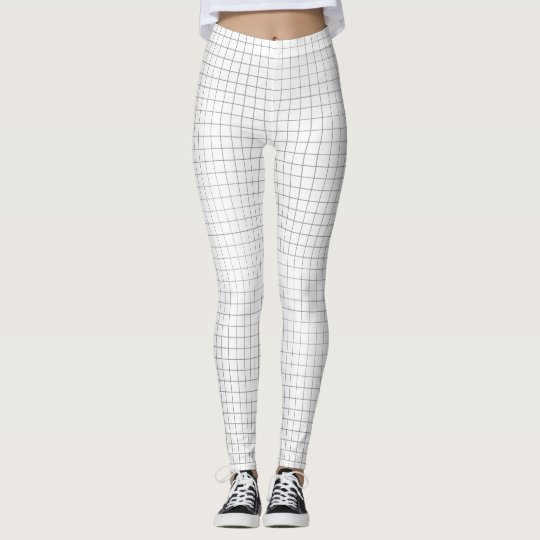 Black and White Geometric Grid Pattern Minmalistic Leggings