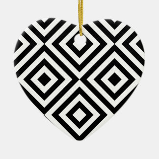 Black and White Geometric Line Pattern Ceramic Heart Ornament