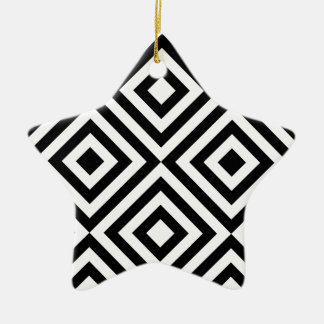 Black and White Geometric Line Pattern Ceramic Star Ornament