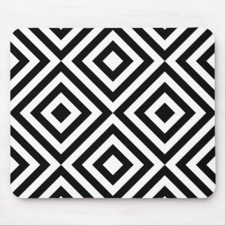 Black and White Geometric Line Pattern Mouse Pad
