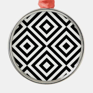 Black and White Geometric Line Pattern Silver-Colored Round Ornament