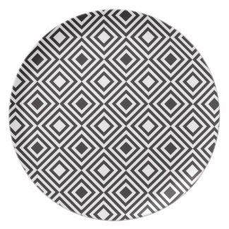 Black and White Geometric Melamine Plate