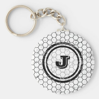 Black and white geometric monogram basic round button keychain