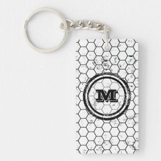 Black and white geometric monogram Double-Sided rectangular acrylic keychain
