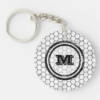 Black and white geometric monogram Double-Sided round acrylic keychain