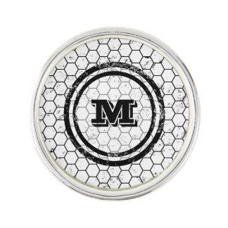 Black and white geometric monogram lapel pin