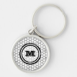 Black and white geometric monogram Silver-Colored round keychain