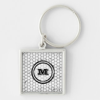 Black and white geometric monogram Silver-Colored square keychain