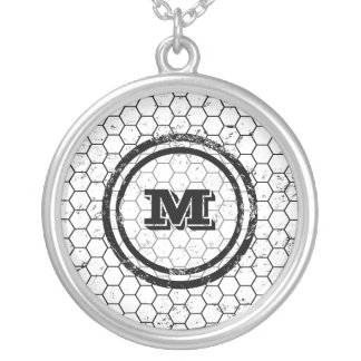 Black and white geometric monogram silver plated necklace