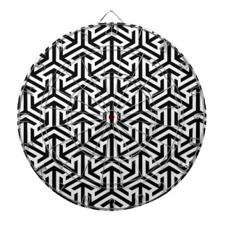Black and White Geometric Pattern Dartboard