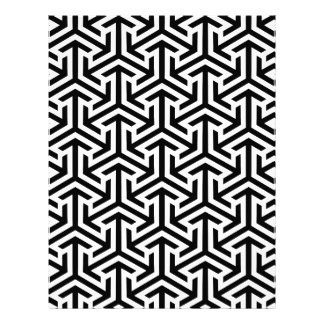 Black and White Geometric Pattern Letterhead