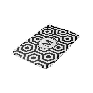 Black and White Geometric  Pattern Monogram Bath Mat